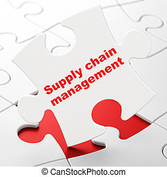 Advertising concept: Supply Chain Management on puzzle...