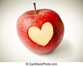 Malus pumila, Apple with heart shape carved on it