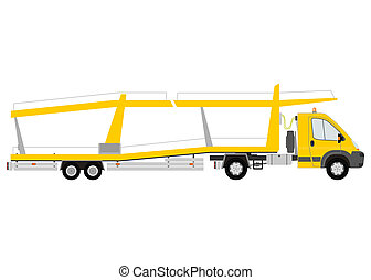Car transporter - Yellow car transporter silhouette