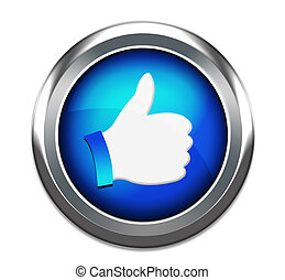 Hand Shaped button thumbs up like facebook like button...