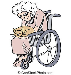 Elderly Cat Lover - An image of a disabled woman holding her...