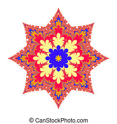 Christmas Star With Orange Center - Colorful fractal...