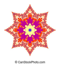 Christmas Star With Blue Center - Colorful fractal...