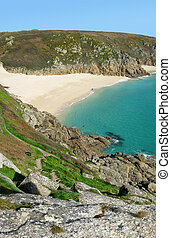 Scenic view from the cliffs above Porthcurno beach, Cornwall...