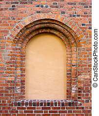 Cego, Janela, antigas, tijolo, parede