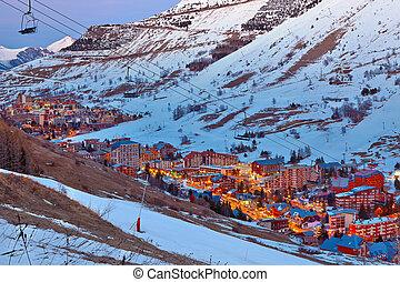 Ski resort in French Alps at dusk