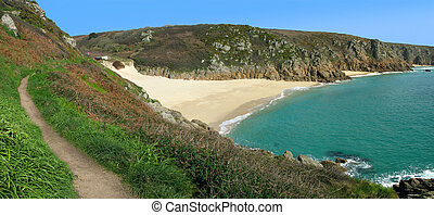 Panoramic view of the coast path to Porthcurno beach,...