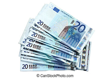 A stack of 20 Euro currency bank notes. - A stack of 20 Euro...
