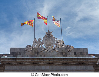 Town Hall or Casa de la Ciutat Barcelona - Flags flying on...