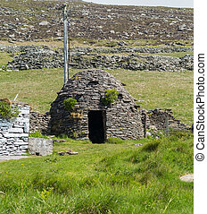 Clochaun or Clochan on Irish Farm in Dingle - Stone is used...