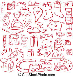 Christmas Toy Doodles - Christmas toys illustrated in a...