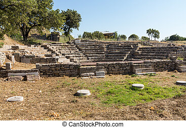 Ruins of old amphitheater in Troy - Ruins of the old...