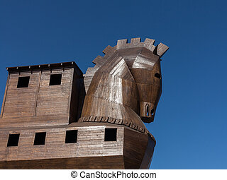 Detail of old wooden horse at Troy