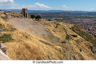 Details of the old ruins at Pergamum - Amphitheater or...