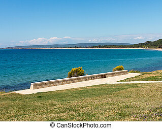Old concrete bunker at Anzac cove - Stone memorial on the...