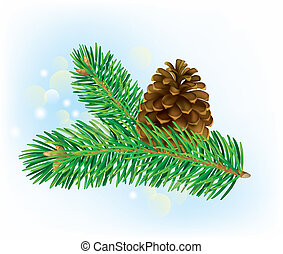 Branch of spruce with pine cone - Branch of spruce with pine...