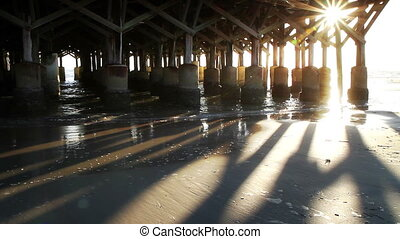 Daytona Beach Florida Pier - Daytona Beach Florida Sunrise...