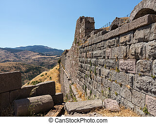 Details of the old ruins at Pergamum - Ruined old Greek city...