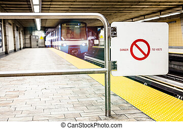Moving subway train and Motion blur with Safety Interdiction...