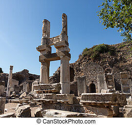Ancient ruins of old Greek city of Ephesus - Ruins of the...