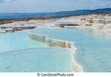 Hot springs and cascades at Pamukkale in Turkey - Hot...