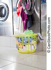 Overloaded Washing Machine And Laundry Basket - Overloaded...