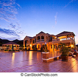 at a luxury resort at night, dawn time Resort and house