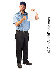 Construction Man Standing and Holing a Blank Document -...