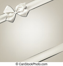 White gift bow - Gift white ribbon with bow over beige...