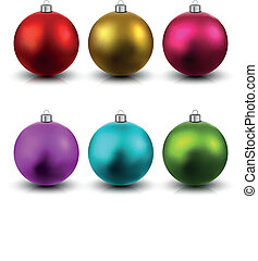 Set of realistic christmas balls. - Colorful christmas balls...