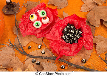 Halloween candy - Spooky Halloween candy in a holiday still...
