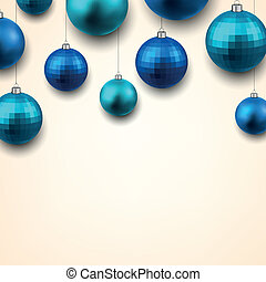 Gift card with blue christmas balls.
