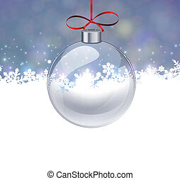Silver christmas background with glass ball - Silver...