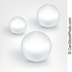 White pearl balls. - Set of white pearl balls with shadows....