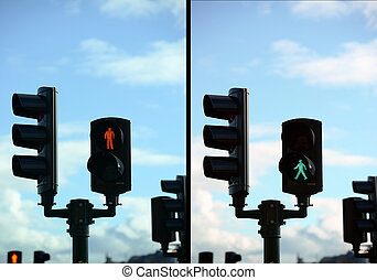 Set of pedestrian light lights with walk and go lights