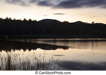 Dusk on Onota Lake in the Berkshire Hills of Western...