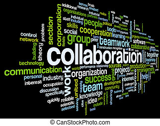 Collaboration concept in word tag cloud