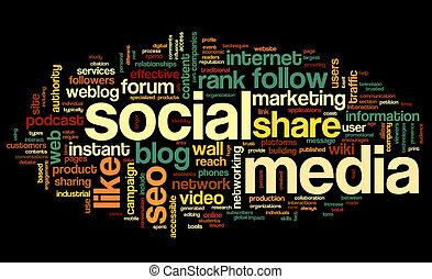 Social media conept in word tag cloud