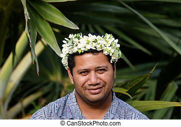 Portrait of Polynesian Pacific Island Tahitian mature male...