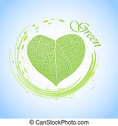 ecology concept with heart of green leaf