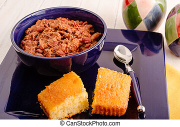 Picture of Elk Chili and Cornbread - Bowl of elk meat chili and ...