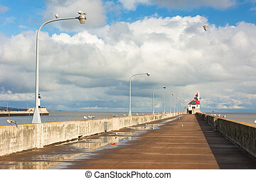 Lighthouse - Lake Superior Lighthouse on the South Pier of...