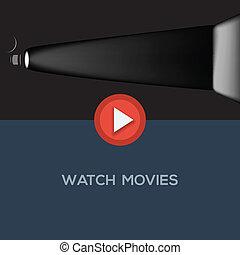 Play movie button, flat design, vector Eps10 illustration.