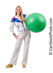 Young woman with swiss ball