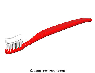 Red toothbrush - Isolated illustration of a shiny red...
