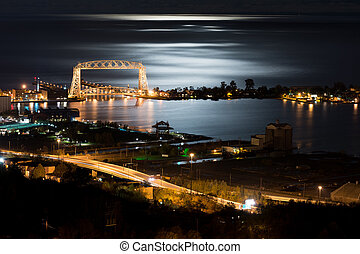 Duluth Minnesota Night Time - Duluth Minnesota Aerial Lift...
