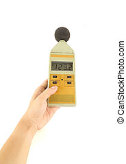 sound level meter holding on hand  (display show high level)
