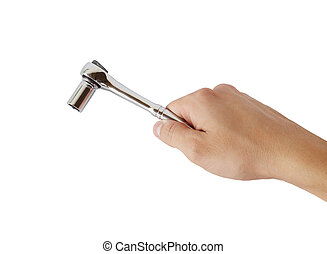 hand holding a socket wrench on white background with...