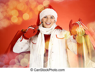 Girl with shopping bags - Portrait of happy girl in...