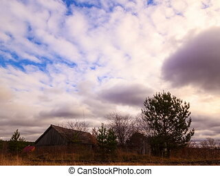 Clouds sweep over the barn Time Lapse 4x3